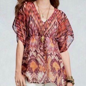 CABI 415 Ikat Kimono Style Tie Waist Blouse Purple